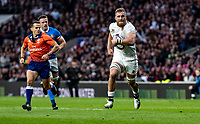 Brad Shields of England powers to the line to score his try during the Guinness Six Nations match between England and Italy at Twickenham Stadium on March 9th, 2019 in London, United Kingdom. Photo by Liam McAvoy.