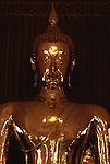 The great Buddha, a solid five and a half ton gold, statue cast 700 years ago, vanished from its dias during an invasion by the Burmese. In 1955, a heavy but nondescript state of Buddha was found in Northern Thailand, When a heavy crane was used to lift it, the crane and hoist broke and the statue fell,. When the outer flesh of cement cracked and the gold glittered, a lost treasure was found. (Jim Bryant Photo).....