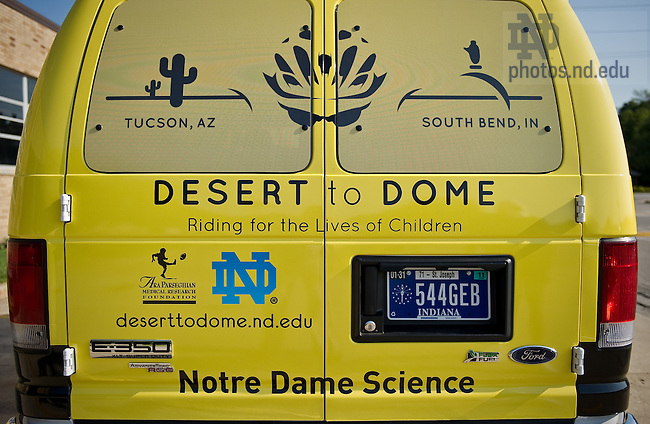 Logos on the back of the support van that will follow College of Science Dean Greg Crawford and his wife Renate as they bike from Tucson, AZ to Notre Dame in July and August of 2010 to raise awareness of Notre Dame's new partnership with the Ara Parseghian Medical Research Foundation...Photo by Matt Cashore/University of Notre Dame