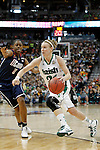 01 APRIL 2012:  Natalie Novosel (21) of the University of Notre Dame drives to the hoop against Tiffany Hayes (3) of the University of Connecticut during the Division I Women's Final Four Semifinals at the Pepsi Center in Denver, CO.  Notre Dame defeated UCONN 83-75 to advance to the national championship game.  Jamie Schwaberow/NCAA Photos