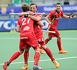 The Hague, Netherlands, June 15: Sebastien Dockier #9 of Belgium is congratulated by Tom Boon #27 of Belgium after scoring a field goal for the final score of 4-2 during the field hockey placement match (Men - Place 5th/6th) between Belgium and Germany on June 15, 2014 during the World Cup 2014 at Kyocera Stadium in The Hague, Netherlands. Final score 4-2 (1-1)  (Photo by Dirk Markgraf / www.265-images.com) *** Local caption ***