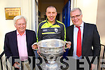 Frank Stephenson Kieran Donaghy and Liam Lynch with the brought the Sam Maguire in Tralee on Friday.