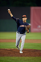 Connecticut Tigers relief pitcher Carson Lance (58) delivers a pitch during a game against the Auburn Doubledays on August 9, 2017 at Falcon Park in Auburn, New York.  Connecticut defeated Auburn 6-4.  (Mike Janes/Four Seam Images)