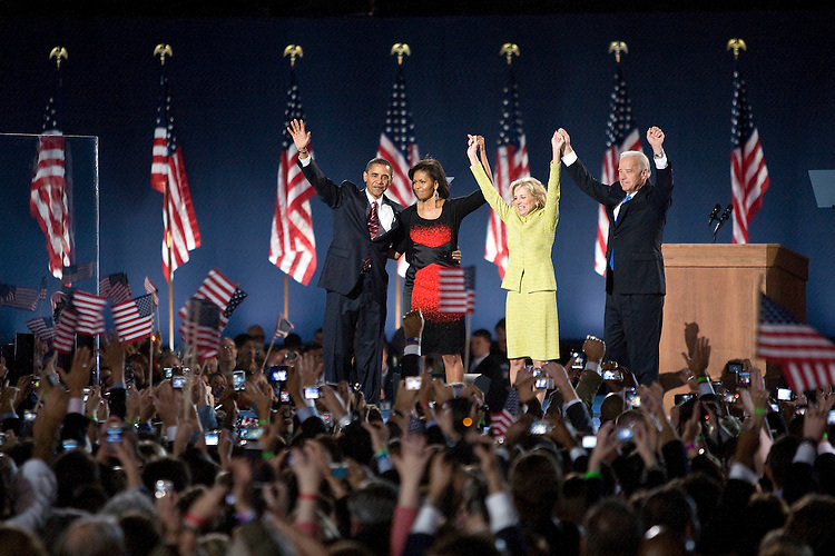 President-elect Barack Obama and his wife, Michelle, left, and Vice President-elect Joe Biden and his wife, Jill, wave to the crowd after Obama's acceptance speech at his election night party at Grant Park in Chicago, Tuesday night, Nov. 4, 2008
