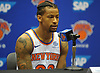 Trey Burke of the New York Knicks fields questions during the team's Media Day held at Madison Square Garden Training Center in Greenburgh, NY on Monday, Sept. 24, 2018.