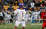 Tehoka Nanticoke (#1) looks for an opening as UAlbany Men's Lacrosse defeats Richmond 18-9 on May 12 at Casey Stadium in the NCAA tournament first round.