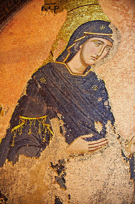 The 11th century Roman Byzantine Church of the Holy Saviour in Chora and its mosaic of the Virgin Mary praying. Endowed between 1315-1321  by the powerful Byzantine statesman and humanist Theodore Metochites. Kariye Museum, Istanbul