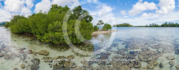 Luftaufnahme von Ghavutu Island mit Mangroven, Florida Islands, Salomonen, Sued Pazifik, Salomonen See / Aerial View from Ghavutu Island with mangroves, Florida Islands, Solomons, South Pacific Ocean, Soomon Sea