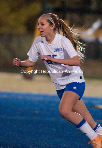 WATERBURY, CT-112114JS05- Lewis Mills' Ailene Berry (25) celebrates her goal during their Class M semifinal game against East Catholic Wednesday at Municipal Stadium in Waterbury. Lewis mills would fall to East Catholic 2-1 in overtime. <br />  Jim Shannon Republican-American