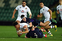 Samson Ma'asi of England U20 is double-tackled to ground. U20 Six Nations match, between England U20 and Scotland U20 on March 15, 2019 at Franklin's Gardens in Northampton, England. Photo by: Patrick Khachfe / JMP