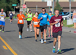 Bill Bengiveno leads a group of runners as they head towards the finish line of the 49th Annual Journal Jog in Reno, Nevada on Sunday, September 10, 2017.