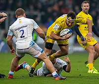 24th November 2019; AJ Bell Stadium, Salford, Lancashire, England; European Champions Cup Rugby, Sale Sharks versus La Rochelle; Jeremy Sinzelle of La Rochelle breaks through a gap in the Sale defence - Editorial Use