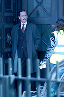 "MATTHEW MacFADYEN.Filming ""Marple: A Pocketful of Rye"", Victoria House, Bloomsbury, London, England..March 21st, 2008. Inspector Neele on the set of grey gray trench coat full length suit .CAP/IA.©Ian Allis/Capital Pictures."
