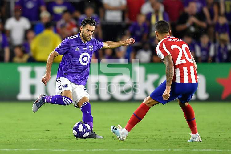 Orlando, FL - Wednesday July 31, 2019:  Graham Zusi #28 during the Major League Soccer (MLS) All-Star match between the MLS All-Stars and Atletico Madrid at Exploria Stadium.