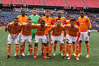 Foxborough, Massachusetts - April 8, 2017:  The New England Revolution (blue/white) beat The Houston Dynamo  (orange/white) 2-0 in a Major League Soccer (MLS) match at Gillette Stadium.