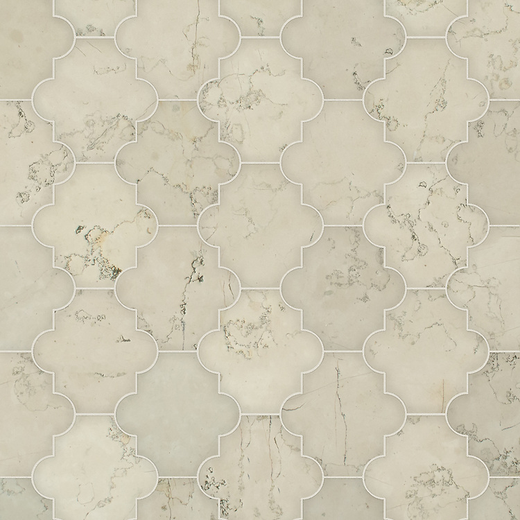 Andre, a waterjet cut stone mosaic, shown in honed Bianco Antico, is part of the Semplice® collection for New Ravenna.