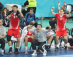 25.01.2013 Barcelona, Spain. IHF men's world championship, 3º/4º place. Picture show croatian brench in action during game between Slovenia vs Croatia at Palau St. Jordi