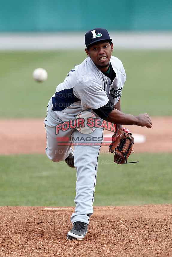 Lexington Legends pitcher Dayan Diaz #31 delivers a pitch during a game against the Hagerstown Suns at Municipal Park on April 11, 2012 in Hagerstown, Maryland.  Lexington defeated Hagerstown 3-0.  (Mike Janes/Four Seam Images)
