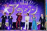 Kazuki Kitamura, Koichi Yamadera, Will Smith, Tomoya Nakamura, Haruka Kinoshita und Alan Menken bei der Premiere des Kinofilms 'Aladdin' im Yebisu Garden Place. Tokio, 16.05.2019