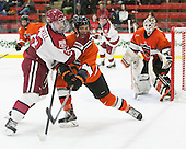 Colin Blackwell (Harvard - 63), Tom Kroshus (Princeton - 4) - The Harvard University Crimson defeated the visiting Princeton University Tigers 5-0 on Harvard's senior night on Saturday, February 28, 2015, at Bright-Landry Hockey Center in Boston, Massachusetts.