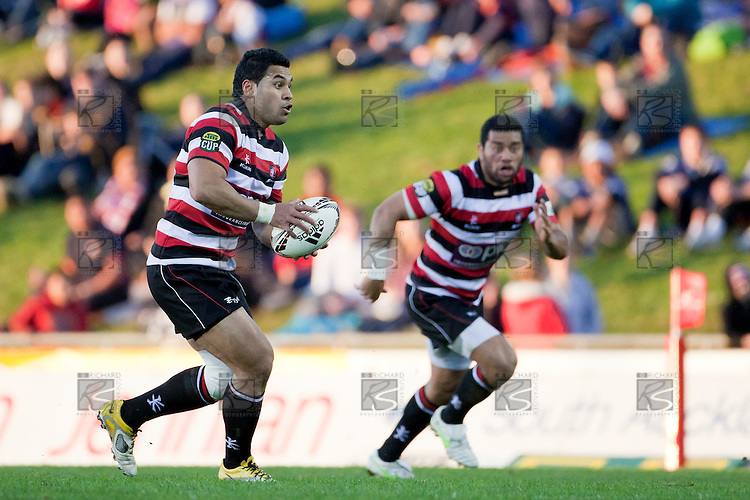 Niva Taáuso makes a midfield run with Siale Piutau in support. ITM Cup Round 1 rugby game between Counties Manukau Steelers and Bay of Plenty, played at Bayer Growers Stadium Pukekohe, on Sunday July 17th 2011. Bay of Plenty won 20 - 13 after leading 13 - 10 at half time.