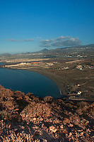 View towards the south coast of Tenerife,from the top of the red mountain, montano roja. Los Abrigos in the background. With Reina Sofia airport on the right. El Medano,Tenerife, Canary Islands