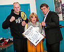 Gary Cornish with his next opponent, current English Heavyweight title holder, John McDermott and boxing promoter Kellie Maloney.