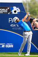Adrian Otaegui (ESP) on the 1st tee during the 2nd round of the DP World Tour Championship, Jumeirah Golf Estates, Dubai, United Arab Emirates. 16/11/2018<br /> Picture: Golffile | Fran Caffrey<br /> <br /> <br /> All photo usage must carry mandatory copyright credit (© Golffile | Fran Caffrey)