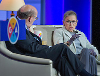 Associate Justice of the United States Supreme Court Ruth Bader Ginsburg appears at the General Assembly of the Jewish Federations of North America on Monday, at the Washington Hilton in Washington, D.C. In a wide-ranging interview with super lawyer Kenneth Feinberg, Justice Ginsburg remarked that the last week's election means that Donald J. Trump will fill the nine-month-old Supreme Court vacancy. She also touched upon the origin of her famous nickname, saying, the Notorious RBG was inspired by &quot;the Notorious B.I.G. ... we're both born and bred in Brooklyn.&quot; November 14, 2016. <br /> Credit: Ron Sachs / CNP /MediaPunch