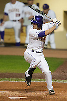 LSU Tigers designated hitter Grant Dozar #7 at bat against the Mississippi State Bulldogs during the NCAA baseball game on March 16, 2012 at Alex Box Stadium in Baton Rouge, Louisiana. LSU defeated Mississippi State 3-2 in 10 innings. (Andrew Woolley / Four Seam Images)
