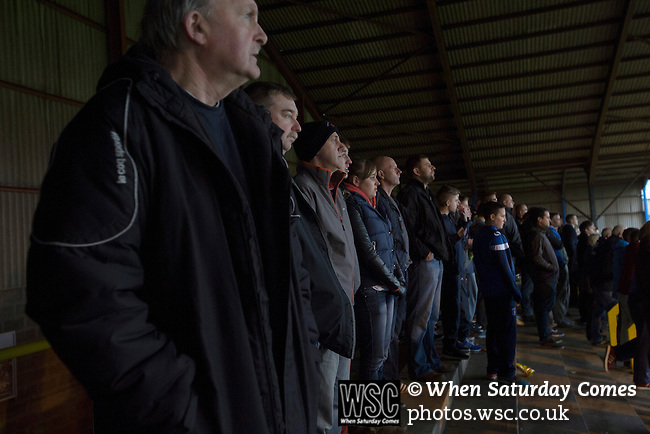 Carlisle United 1 Accrington Stanley 0, 15/11/2014. Brunton Park, League Two. Home fans in the Warwick Road stand watching the first-half action during the English League Two match between Carlisle United and visitors Accrington Stanley at Brunton Park. The match was won by the home team by one goal to nil, the winner scored by Derek Asamoah in the 21st minute. The match was watched by 4,069 spectators. Photo by Colin McPherson.
