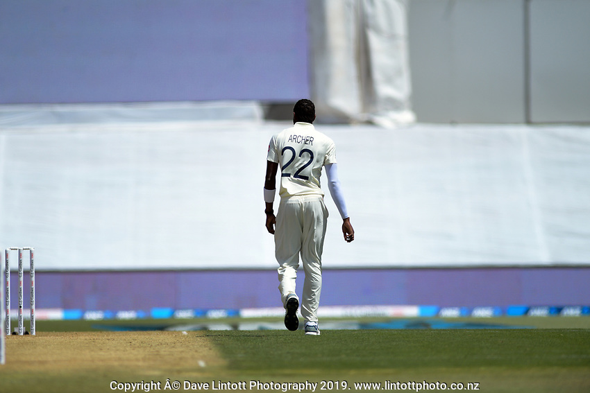 England's Jofra Archer prepares to bowl during day two of the international cricket 1st test match between NZ Black Caps and England at Bay Oval in Mount Maunganui, New Zealand on Friday, 22 November 2019. Photo: Dave Lintott / lintottphoto.co.nz