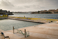 Malta, 28 December 2014<br /> <br /> Along the West shore of the old city of Valetta. The water polo pool of Valetta United with view of Manoel Island.<br /> <br /> Photo Kees Metselaar