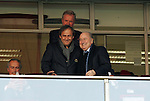 24 JUN 2010: UEFA President Michel Platini (left) with FIFA President Joseph (Sepp) Blatter (right). The Slovakia National Team defeated the Italy National Team 3-2 at Ellis Park Stadium in Johannesburg, South Africa in a 2010 FIFA World Cup Group F match.