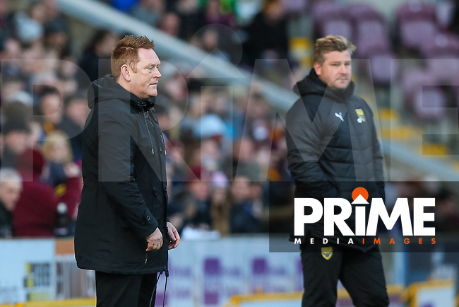 Bradford City head coach  David Hopkin and Oxford manager Karl robinson during the Sky Bet League 1 match between Bradford City and Oxford United at the Northern Commercial Stadium, Bradford, England on 24 November 2018. Photo by Thomas Gadd.