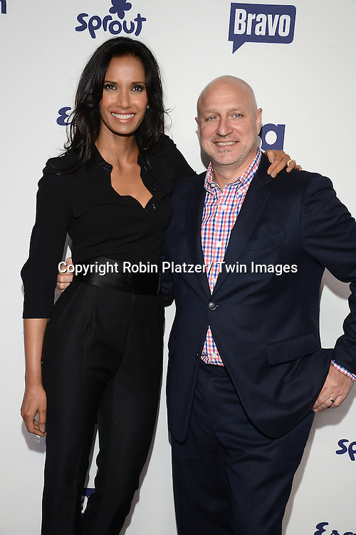 Padma Lakshmi and Tom Colicchio attend the NBCUniversal Cable Entertainment Upfront <br /> on May 15, 2014 at The Javits Center North Hall in New York City, New York, USA.
