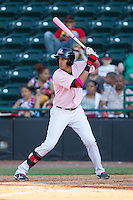 Ronald Guzman (29) of the Hickory Crawdads at bat against the Augusta GreenJackets at L.P. Frans Stadium on May 11, 2014 in Hickory, North Carolina.  The GreenJackets defeated the Crawdads 9-4.  (Brian Westerholt/Four Seam Images)