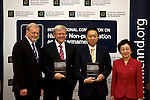 "Australian Prime Minister Kevin Rudd (2L) and his Japanese counterpart Yukio Hatoyama (3L) pose for a photo with Gareth Evans and Yoriko Kawaguchi after the two leaders had launched a report ""Eliminating nuclear threats: a practical agenda for global policymakers"" the commision for which was chaired by Mr Evans and Ms. Kawaguchi, in Tokyo, Japan on Tuesday Dec. 15 2009..Photographer: Robert Gilhooly"