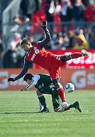 26 March 2011: Toronto FC forward Maicon Santos #29 and Portland Timbers midfielder Peter Lowry #8 in action during an MLS game between the Portland Timbers and the Toronto FC at BMO Field in Toronto, Ontario Canada..Toronto FC won 2-0....