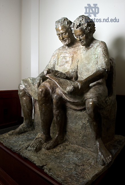 Statue in the main lobby of Stinson-Remick...Photo by Matt Cashore/University of Notre Dame