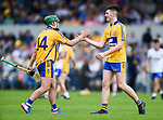 Kealan Guyler of Clare hugs team mate William Halpin following their win over Waterford in  their Munster  championship round robin game at Cusack Park Photograph by John Kelly.