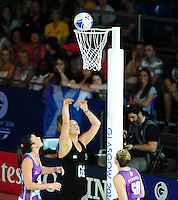 New Zealand's Catherine Latu has a successful attempt at scoring<br /> <br /> Scotland Vs New Zealand - preliminary round - group A<br /> <br /> Photographer Chris Vaughan/CameraSport<br /> <br /> 20th Commonwealth Games - Day 3 - Saturday 26th July 2014 - Netball - SECC - Glasgow - UK<br /> <br /> © CameraSport - 43 Linden Ave. Countesthorpe. Leicester. England. LE8 5PG - Tel: +44 (0) 116 277 4147 - admin@camerasport.com - www.camerasport.com