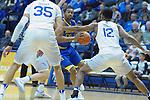 January 14, 2017:  San Jose State forward, Ryan Singer #24, looks for help during the NCAA basketball game between the San Jose State Spartans and the Air Force Academy Falcons, Clune Arena, U.S. Air Force Academy, Colorado Springs, Colorado.  San Jose State defeats Air Force 89-85.