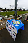 Yorkshire flag on the table for half time draw tickets. Yorkshire v Parishes of Jersey, CONIFA Heritage Cup, Ingfield Stadium, Ossett. Yorkshire's first competitive game. The Yorkshire International Football Association was formed in 2017 and accepted by CONIFA in 2018. Their first competative fixture saw them host Parishes of Jersey in the Heritage Cup at Ingfield stadium in Ossett. Yorkshire won 1-0 with a 93 minute goal in front of 521 people. Photo by Paul Thompson