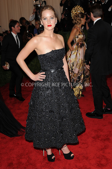 WWW.ACEPIXS.COM . . . . . .May 6, 2013...New York City..... Jennifer Lawrence attending the PUNK: Chaos to Couture Costume Institute Benefit Gala at The Metropolitan Museum of Art in New York City on May 6, 2013  in New York City ....Please byline: Kristin Callahan...ACEPIXS.COM...Ace Pictures, Inc: ..tel: (212) 243 8787 or (646) 769 0430..e-mail: info@acepixs.com..web: http://www.acepixs.com .