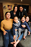 The Turner family, back, from left: Jacqui and Hitiri; front, Phoenix, Javien, Achilles and Skye'La. Masterton, New Zealand on Monday, 13 August 2018. Photo: Dave Lintott / lintottphoto.co.nz