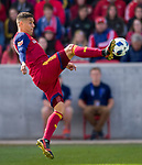 Real Salt Lake forward Luis Silva (20) stops the ball in the first half Saturday, March 10, 2018, during the Major League Soccer game at Rio Tiinto Stadium in Sandy, Utah. LAFC beat RSL 5-1. (© 2018 Douglas C. Pizac)