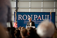 Congressman Ron Paul speaks to a crowd of supporters at a rally at Jet Aviation in Nashua, New Hampshire, on Jan. 6, 2012.  Paul is seeking the 2012 GOP Republican presidential nomination.