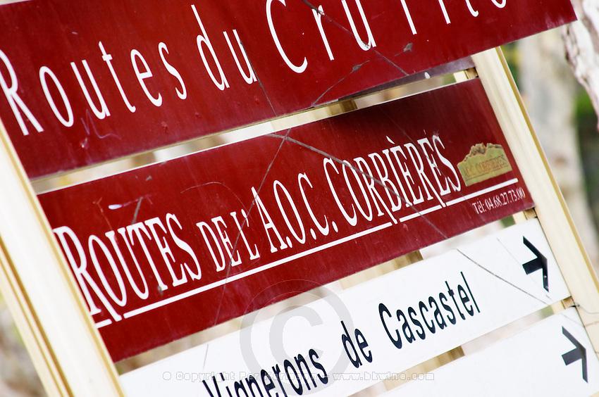 Wine road Route de l'AOC Corbieres. Les Corbieres. Languedoc. France. Europe.