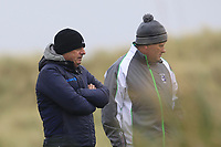 Paul McGinley (IRL) on the 13th tee watching his son Killian McGinley (Sunningdale) during Round 2 of the Ulster Boys Championship at Portrush Golf Club, Portrush, Co. Antrim on the Valley course on Wednesday 31st Oct 2018.<br /> Picture:  Thos Caffrey / www.golffile.ie<br /> <br /> All photo usage must carry mandatory copyright credit (&copy; Golffile | Thos Caffrey)